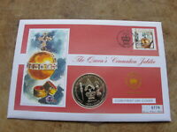 Isle of Man 2003 Crown coin cover ( St Helena ) - Queens Coronation Jubilee