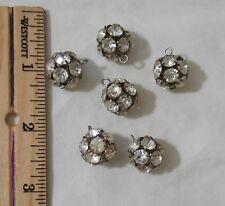 "Lot of 6 Vintage White RHINESTONE Round Ball Buttons ½"" Diameter Metal Jewelry"