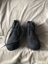 NWOB Bobs Canvas Black Desert Wedge Heels Ankle Boots Shoes Sz 6 1/2 Womens