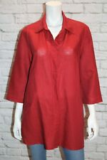 mixit lifestyle Brand Red Linen 3/4 Sleeve Shirt Top Size 14 #AN02