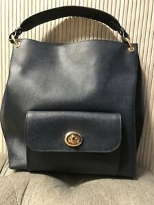 Authentic NEW COACH Navy Leather Hobo Bag Large