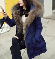 Women Fashion thicken winter warm big fur collar hooded coat parka down overcoat