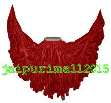 RED Satin 25 Yard Gypsy Skirt Belly Dance Tribal Ruffle Jupe Flamenco Costumes