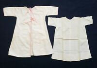 Vintage Baby Robe Dress Handmade Off-White Lot of 2 Outfits Christening Gown