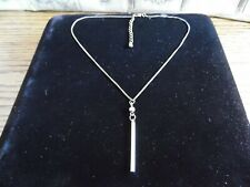 with Stick Pendant Silver Tone Necklace