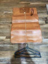 Vintage Leather Garment Suit Bag Brown Folding Zip Outside Pocket Handles Travel