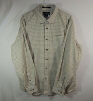 Eddie Bauer Mens Button Up Long Sleeve Dress White Plaid Shirt Relaxed Fit Large