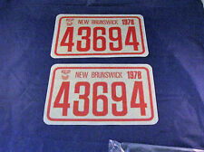 Pair 1978 New Brunswick Snow Vehicle License Plate Emblems