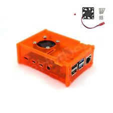 Orange Acrylic Case Enclosure Box with Cooling Fan for Raspberry Pi 4