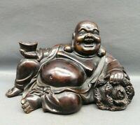 Tibet Buddhism Temple old Copper smile Maitreya Buddha Holding yuanbao Statue