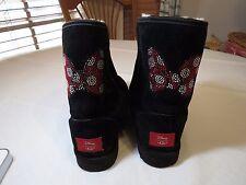 Disney UGG Classic short Minnie SWAROVSKI CRYSTAL Black Boot UGGS womens 8 RARE