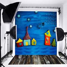 3x5FT Wood Star Ningt Blue Child Photography Backdrop Background For Studio Prop