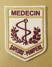 Patch / écusson en tissu soie brodé MÉDECIN  SAPEURS POMPIERS  -  11 x 7,5 cm