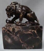 Statua Leone Serpente Natura Stile Art Deco Stile Art Nouveau Bronzo massiccio F
