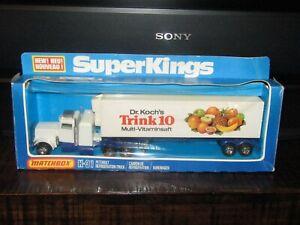 Matchbox Superkings K-31 Peterbilt Truck Dr Koch's Trink 10 MEGA RARE BLUE BASE