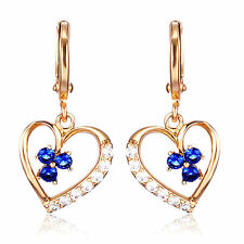 New Yellow Gold Filled Heart w/ Sapphire Blue & White CZ Accents Dangle Earrings