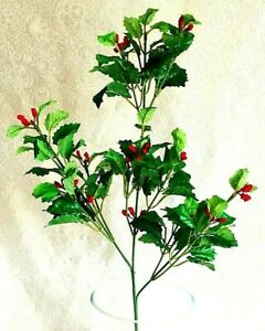 12 Holly Stems Red Berry Christmas Silk Greenery Berries Artificial Fake Plant