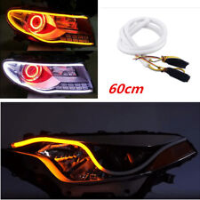 2x 60cm Car Dual Color Switchback Soft Tube Headlight DRL LED Light Strip Signal