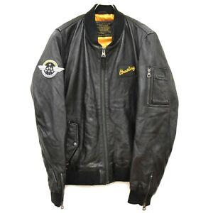 BREITLING Redskins Leather Blouson Jacket Coat Outer Men L Black