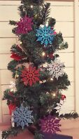 6 SNOWFLAKES CHRISTMAS TREE DECORATIONS DECORATION BAUBLES GLITTER HANG XMAS