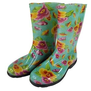 Sloggers Gardening Rain Boots Womens Sz 7 Teal Floral Pansies Pull On Gardening