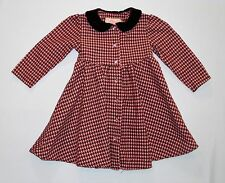 Plum Pudding Brown & Pink Houndstooth Button Front LS Brushed Corduroy Dress, 2T