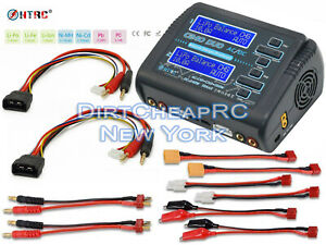 HTRC C240 Dual 2 Port 10Amps LiPo Battery Balance Charger Traxxas ID 4S Cables