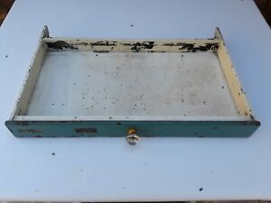 Antique 1920s American Cabinet Co Dental Mahogany Drawer Complete w/Glass Pull