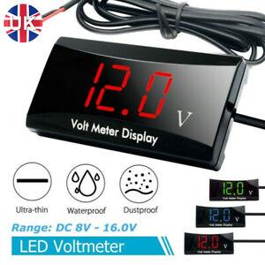 12V LED Digital Display Car Motorcycle Universal Waterproof Voltmeter DC 8V-16V