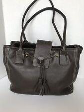 Land's End Brown Leather Handbag Key Clip Supple Tassels Clean Magnetic Snap