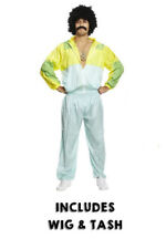 Mens 80s Scouser SHELL SUIT WIG TASH Fancy Dress Costume Tracksuit Stag Do Jimmy