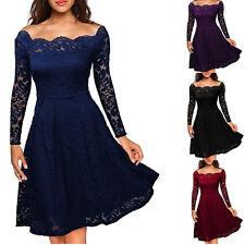 Damen Schulterfrei Party Spitzenkleid Abendkleid Tunika Cocktail Langarm Kleid V