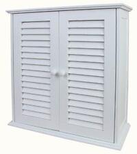 Armoire suspendue pr salle de bains, bois blanc, 52x22x55cm