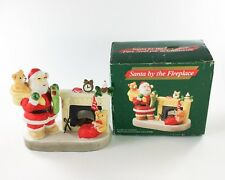 Santa Claus By The Fireplace Porcelain Candle Holder