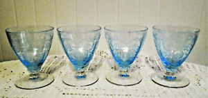 """4 FOSTORIA AZURE BLUE VERSSAILLE 3 3/4"""" #5298 FOOTED OYSTER COCKTAIL GLASSES"""