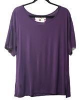Women's Cupio Size X-Large Purple Stretchy Short Sleeve Shirt Split Sleeve Top