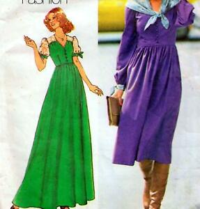"""Vintage 70s does 30s DRESS Sewing Pattern Bust 34"""" Sz 10 RETRO Evening MAXI"""