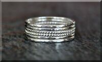Set of 6 Ultra Thin Hammered Twist Sterling Silver Stacking Rings, Dainty Ring