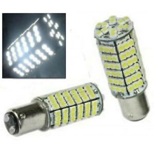 White LED #1157 12 Volt Tail Light Brake Stop Turn Signal Lamp Bulbs 120 SMD