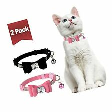 New listing Bingpet Breakaway Cat Collar with Bowtie Diamonds and Bell Adjustable Safety .