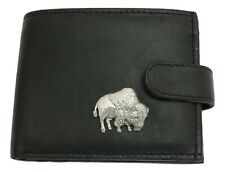 Buffalo Leather Wallet BLACK Card Slots Mens Present Nature American Gift 436