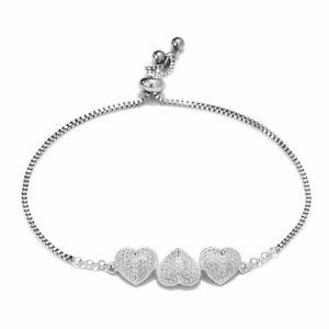 925 Sterling Silver Diamond Elegant Fashion Bracelet Bangle Gift For Women
