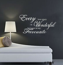 ~Every Love Story Is~ Wall Art Quote Vinyl Decal Sticker Mural Home Decor DIY