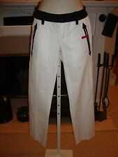 STYLISH NWT DSQUARED2 WHITE CAPRI PANTS WITH BLACK DETAILING THROUGHOUT