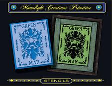 Primitive Stencil~Vintage Style~Green Man~New Age Forrest Man