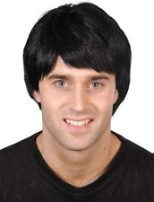 80s 90s Guy Wig Boy Band Pop Star Short Male Fancy Dress Wig Black New Smiffys