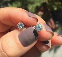 1Ct Round Cut Diamond Push Back Solitaire Stud Earrings 14K White Gold Finish
