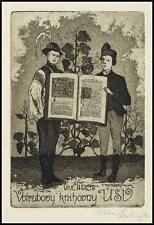 Stastny Ctibor C3 Exlibris 1941 Bookplate Folklore Folk Grapes Trauben 1475