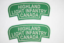CANADA CANADIAN WW2 STYLE PRINTED SHOULDER TITLE PAIR HIGHLAND LIGHT INFANTRY