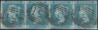 1841 SG13 2d PALE BLUE PLATE 3 FINE USED STRIP OF 4 LEWES 451 CANCELS (SA/SD)